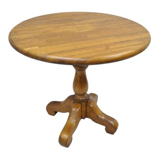 "Vintage French Country 36"" Round Oak Butcher Block Top Dining Table Pedestal Base"