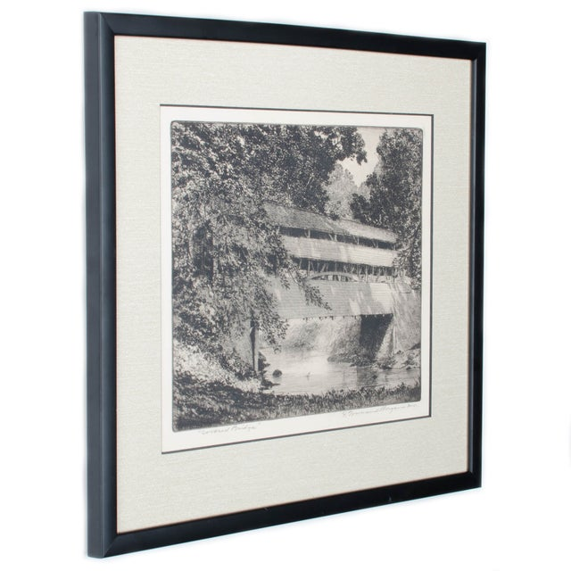 Franklin Townsend Morgan (American, 1883-1965). General Knox covered bridge in Valley Forge, PA. Signed lower right F....