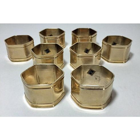 Art Deco Vintage Brass Hexagon Napkin Rings - Set of 8 For Sale - Image 3 of 5
