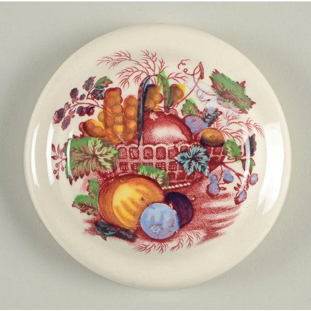 Mason's Fruit Basket Red Multicolor Drip Jar & Lid features a red and multicolor fruit in a basket transfer design. This...
