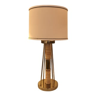 TorinoLamp Co., Brass & Rattan Table Lamp With Shade For Sale
