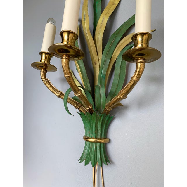 Neoclassical Pair of Sconces Bamboo Palm Bronze by Maison Bagues, France, 1970s For Sale - Image 3 of 13