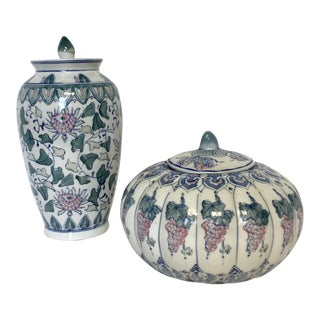 Blue & Pink Floral Asian Ceramic Ginger Jar & Squash Vase - A Pair