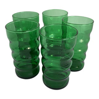 Vintage Anchor Hocking Small Whirly Twirly Forest Green Drinking Glasses - Set of 5 For Sale