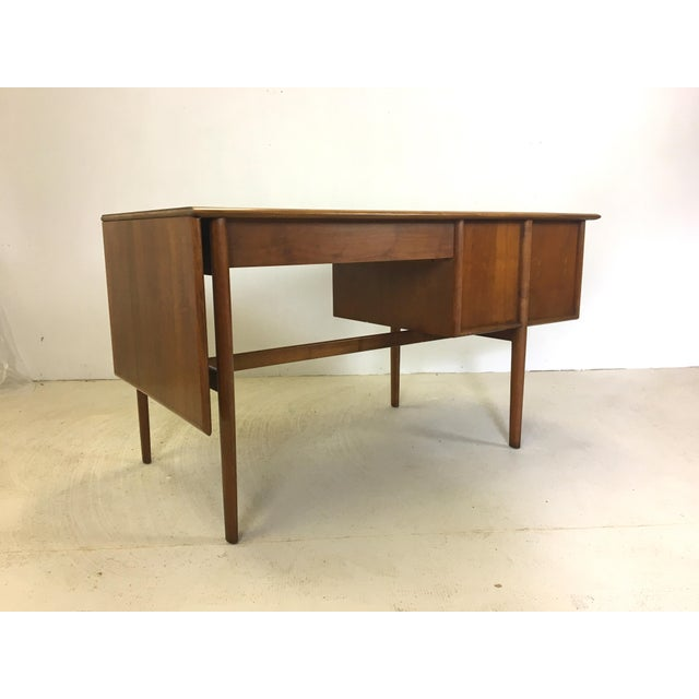 Wood Drexel Parallel Walnut Extension Desk by Barney Flagg For Sale - Image 7 of 9