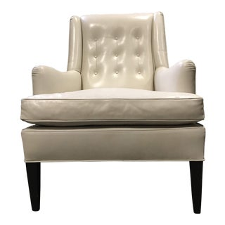 Lewis Mittman Ivory Leather Tufted Back Club Chair For Sale