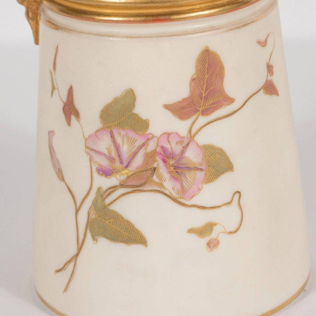 Gold Hand-Painted Gilded Art Nouveau Bonn Royal Worcester Vase with Floral Motif For Sale - Image 8 of 11