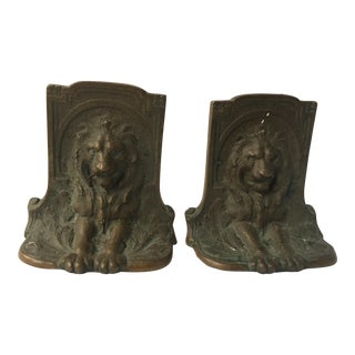 Vintage Bronze Lion Bookends - A Pair