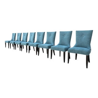 Contemporary Blue Upholstered Dining Chairs - Set of 8
