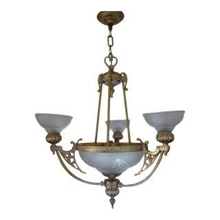 Antique Art Deco Gold Chandelier For Sale