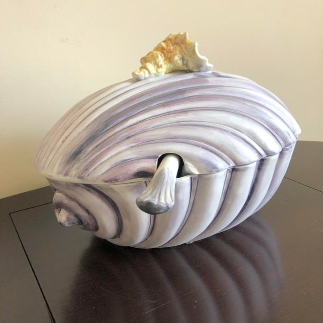 Purple Yellow Italian Pottery Sea Shell Tureen For Sale In Buffalo - Image 6 of 10