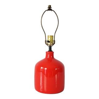 Mid-Century Vibrant Orange Glaze Pottery Lamp . For Sale