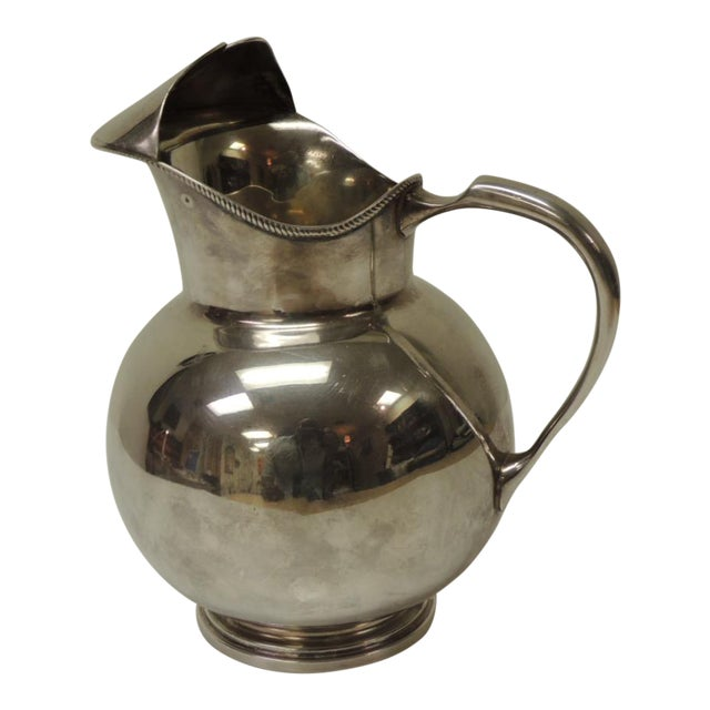 Polished Argentinian Sterling Silver Water Pitcher With Handle. For Sale