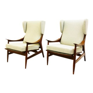 Pair of High Back Armchair Peter Hvidt & Orla Mølgaard-Nielsen For Sale