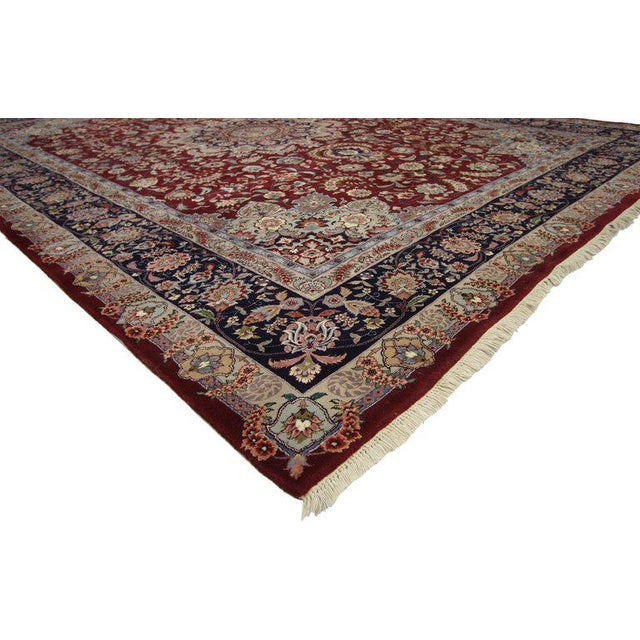 77142, vintage Chinese Persian style Mashhad Area rug with traditional style. This hand-knotted wool and silk vintage...