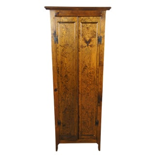 Early American Style Pine Linen Cabinet For Sale