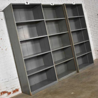 Trio of Industrial Steel Bookcase Shelving Painted Gray – Green Great Patina Vintage Preview