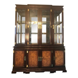 Late 20th Century Universal Furniture Chinoiserie China Cabinet - 2 Pieces For Sale
