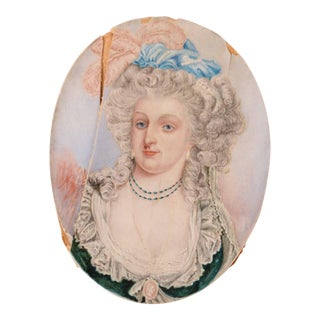 18th Century Hand Painted and Signed Portrait Miniature of Queen Marie Antoinette For Sale