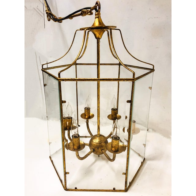 Glass Gilt Metal Lantern Chandelier For Sale - Image 7 of 7