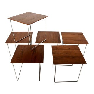 Set of 6 Teak Nesting Tables Poul Nørreklit for GP Farum Magic Puzzle Cube