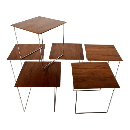 Set of 6 Teak Nesting Tables Poul Nørreklit for Gp Farum Magic Puzzle Cube For Sale