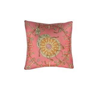 """""""Les Cles"""" Hermès Silk Scarf Pillow For Sale"""