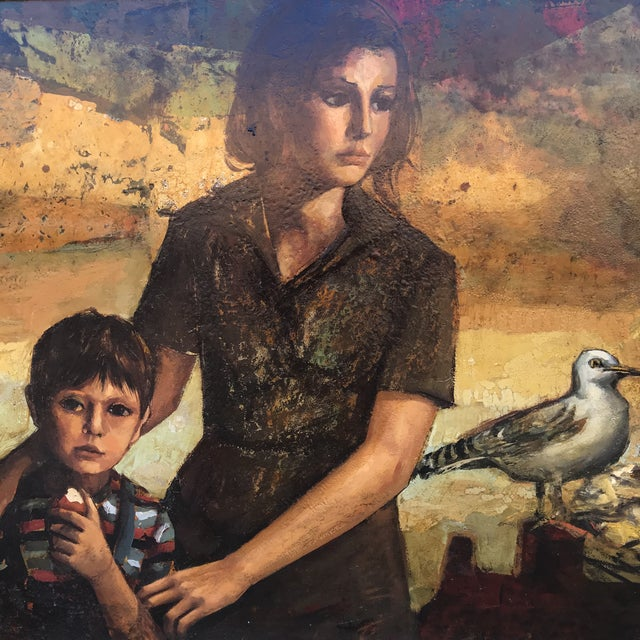Fantastically executed oil painting of board of a mother and child observing a nesting seagull. This piece is displayed in...
