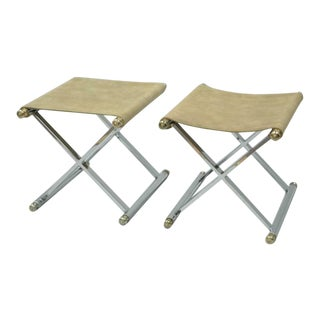 1970s Vintage Hollywood Regency Maison Jansen Style X-Frame Chrome and Brass Stools- a Pair For Sale