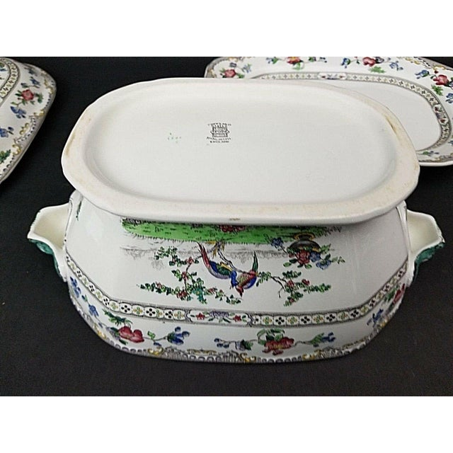 Traditional Copeland Late Spode Artichoke Peacocks Serving Tureen With Lid & Underplate For Sale - Image 3 of 5