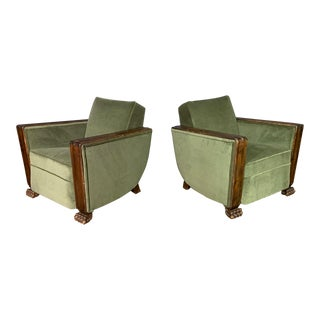 Pair 1930 Curved-Back Lounge Chairs, Lion-Paw Feet For Sale