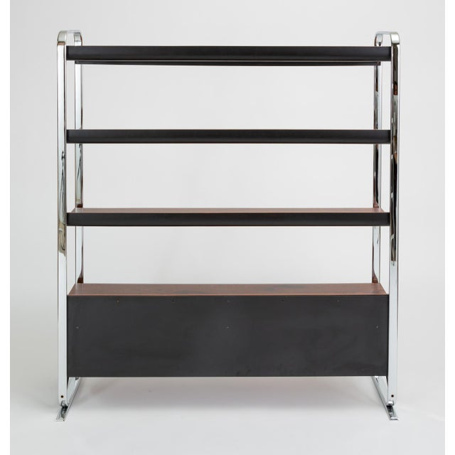 Herman Miller Zebrawood and Chrome Bookshelf by Peter Protzmann for Herman Miller For Sale - Image 4 of 13