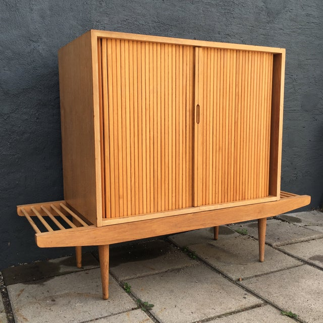 Milo Baughman Bench & Cabinet - Image 5 of 7