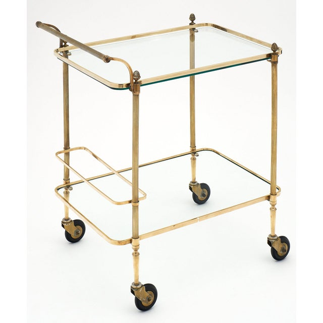 1940s French Art Deco Period Brass Bar Cart With Finials For Sale - Image 5 of 10