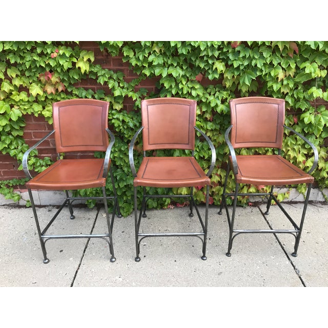Leather and Metal Bar Stools - Set of 3 - Image 3 of 5