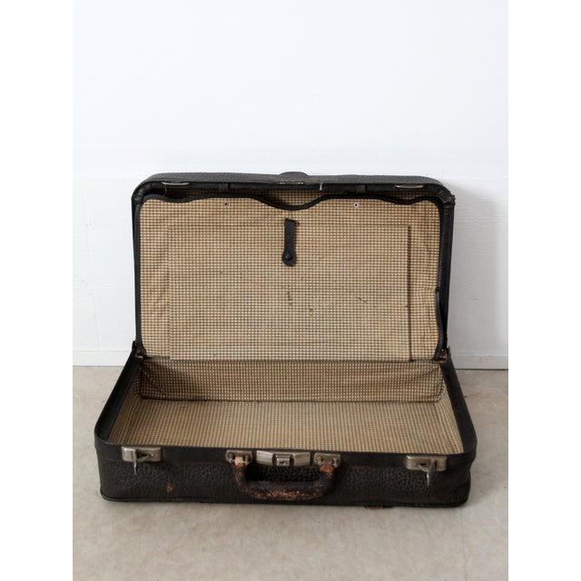 Vintage Black Leather Suitcase - Image 7 of 8