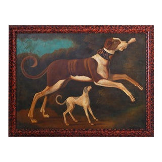 William Skilling Oil Painting on Canvas of Two Dogs For Sale