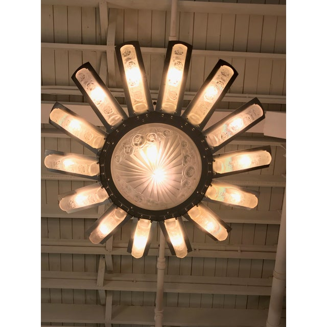 French Art Deco Starburst Chandelier by Degué For Sale - Image 10 of 13