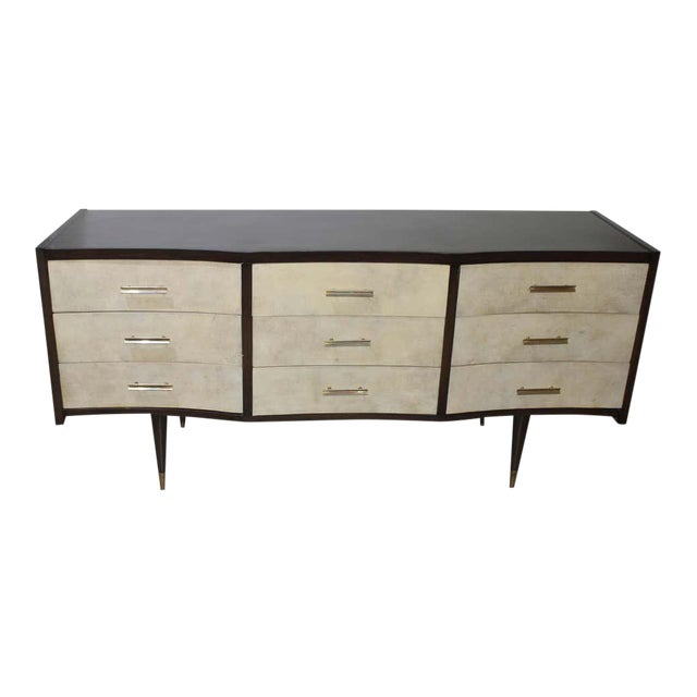 Gio Ponti Midcentury Style Chest of Drawers With Goatskin Parchment For Sale