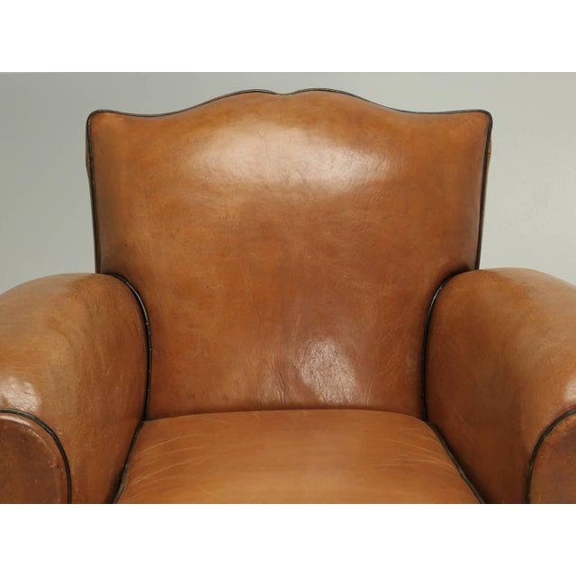 """French Leather Club Chairs and nothing says it any clearer, than a pair of """"Moustache Style"""" French club chairs. The..."""