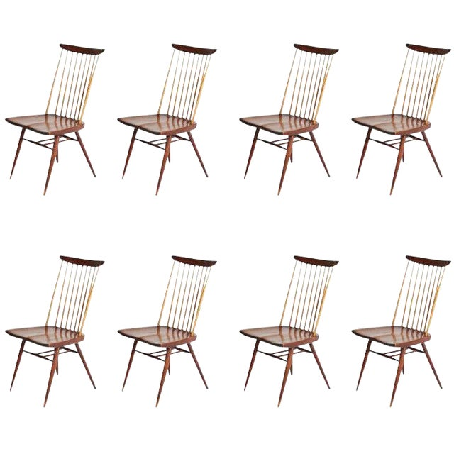 "George Nakashima ""New"" Chairs, Set of Eight, Authenticated 1960s Production For Sale"