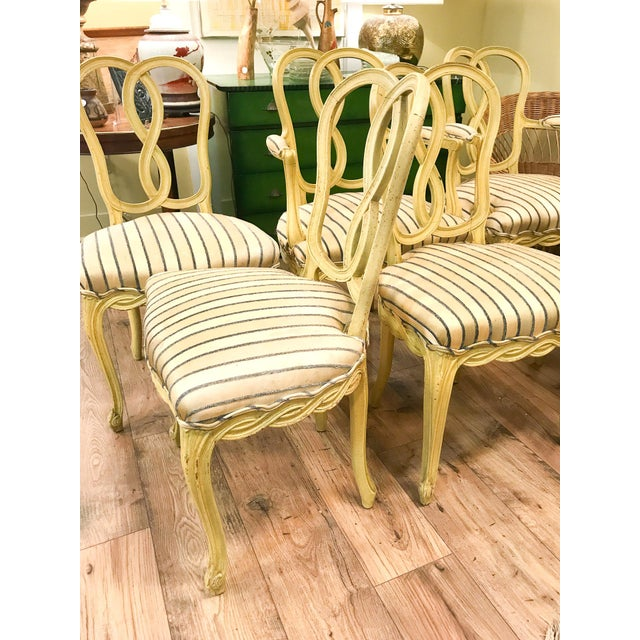 Set of 6 Mid Century Hollywood Regency Ribbon Back Dining Chairs - Image 5 of 12