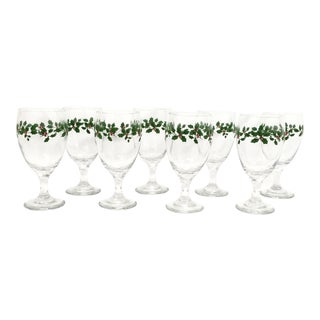 Christmas Holly Garland Goblets, Set of 8 For Sale