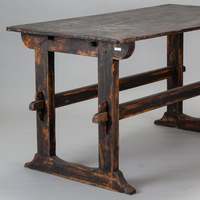 18th Century Swedish Trestle Table with Black Finish For Sale - Image 4 of 7