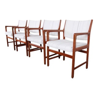Karl Erik Ekselius for j.o. Carlsson Swedish Modern Solid Teak Arm Chairs - Set of 4 For Sale