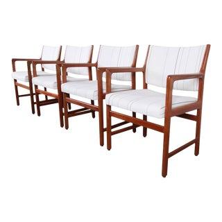 Karl Erik Ekselius for j.o. Carlsson Swedish Modern Solid Teak Arm Chairs, Set of Four For Sale