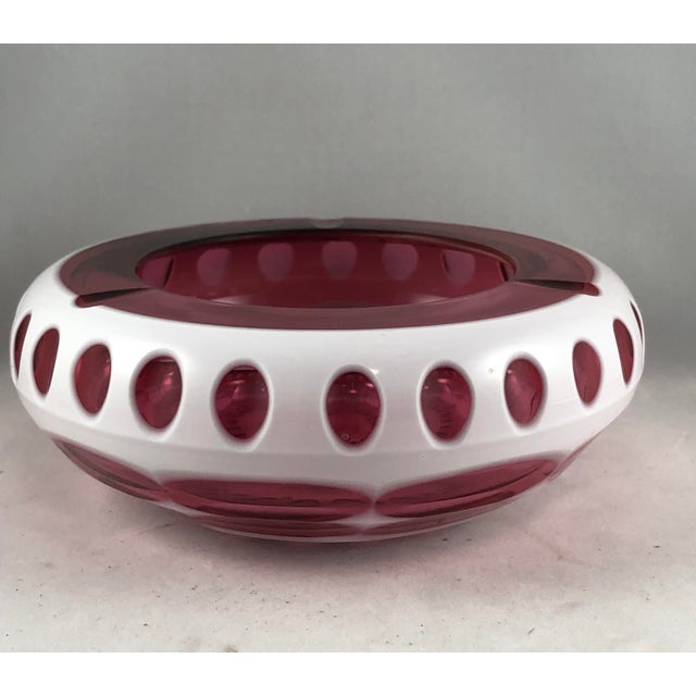 Art Deco Bohemian Ashtray in Cranberry and Opaque White Hand Cut Glass. Antique or vintage Czech art glass ashtray in...