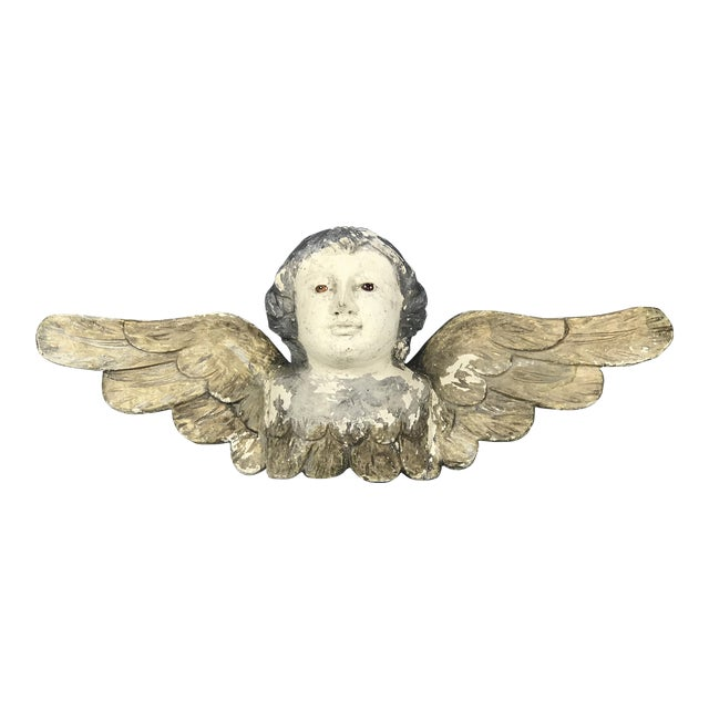 Handcarved Wood Winged Cherub For Sale