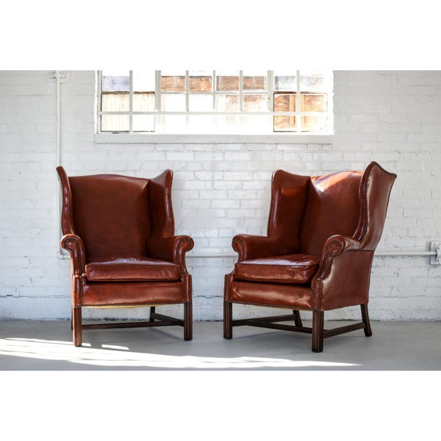 Vintage Marbled Red Leather Georgian H-Base Wingback Fireside Chairs - Pair For Sale - Image 13 of 13