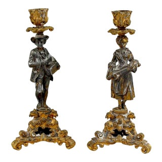 Early 19th Century French Figural Candleholders - a Pair For Sale